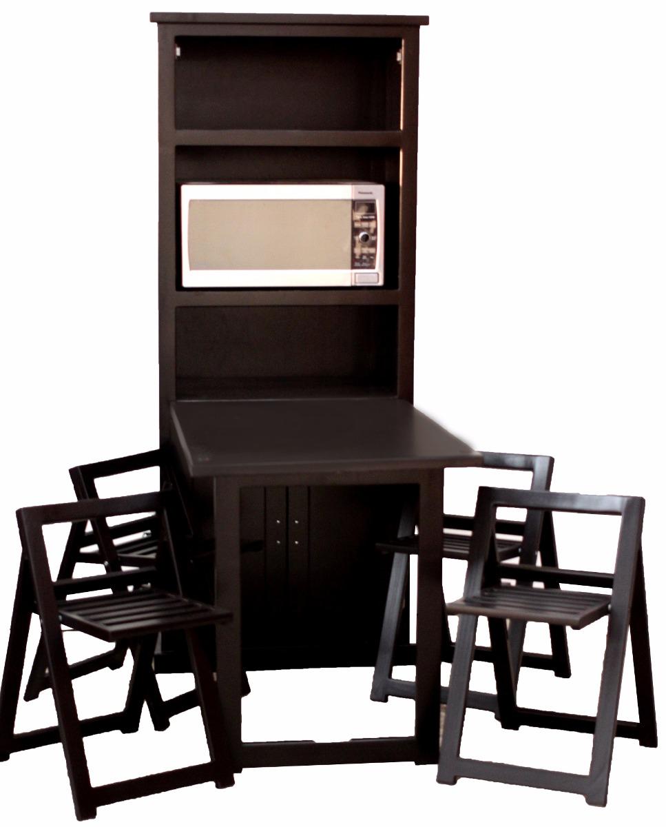 Comedor plegable ahorra espacio de madera con 4 sillas for Comedor 4 sillas madera