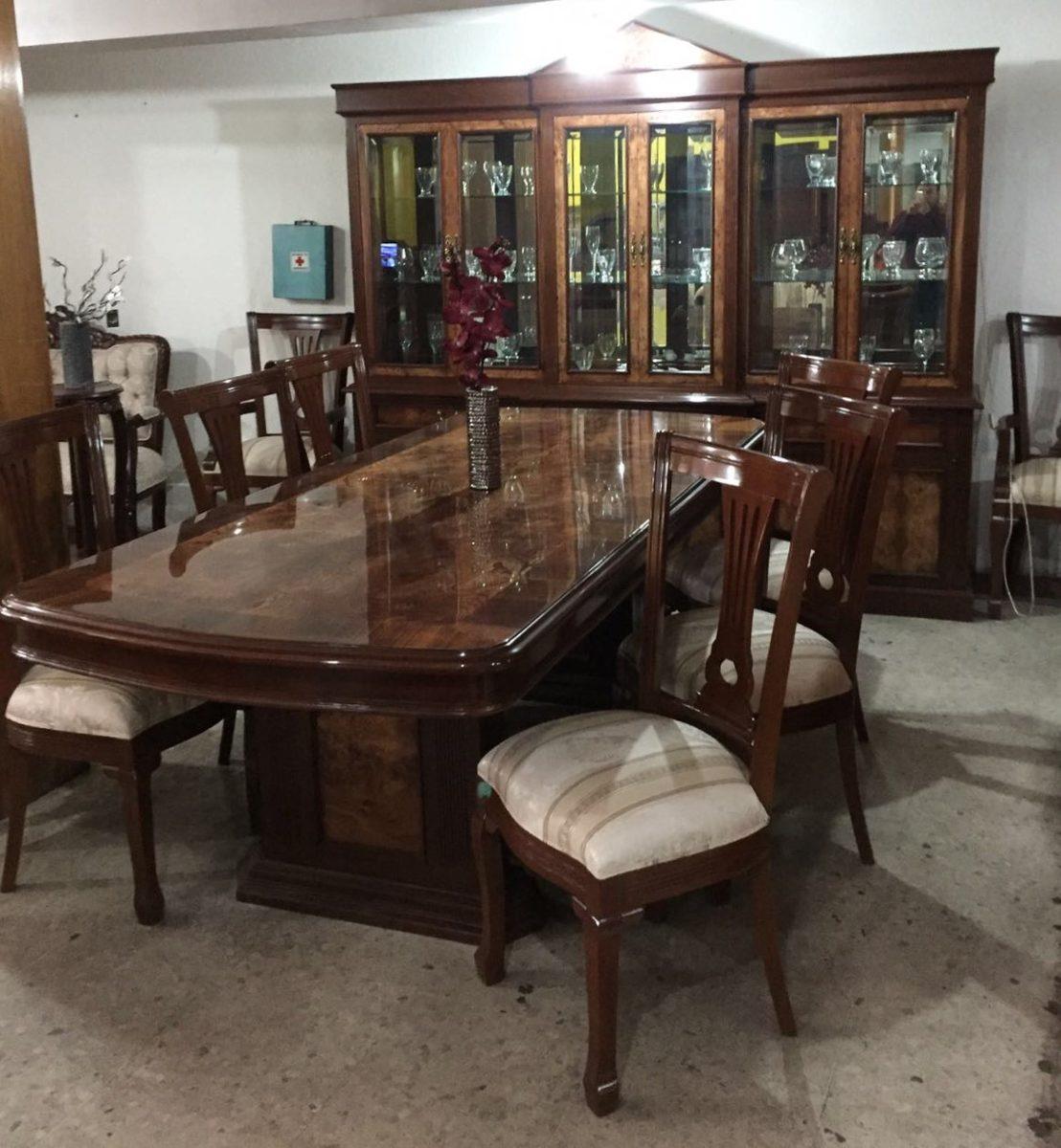 Comedor provenzal modernista modelo ingl s en madera fina for Comedor 8 sillas madera