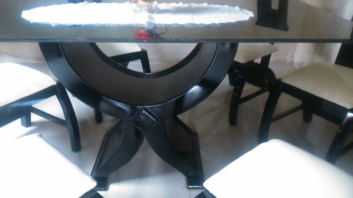 Juego de comedor moderno minimalista de vidrio 6 puestos for Comedor negro de vidrio