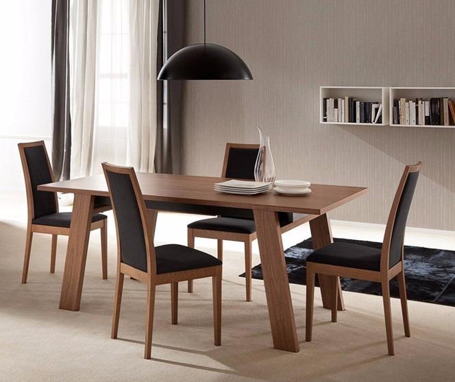 Comedor rectangular madera pino 4 sillas madera viva for Comedor 4 sillas madera