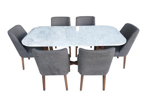 comedor rectangular mesa marmol base madera d pino 6 sillas