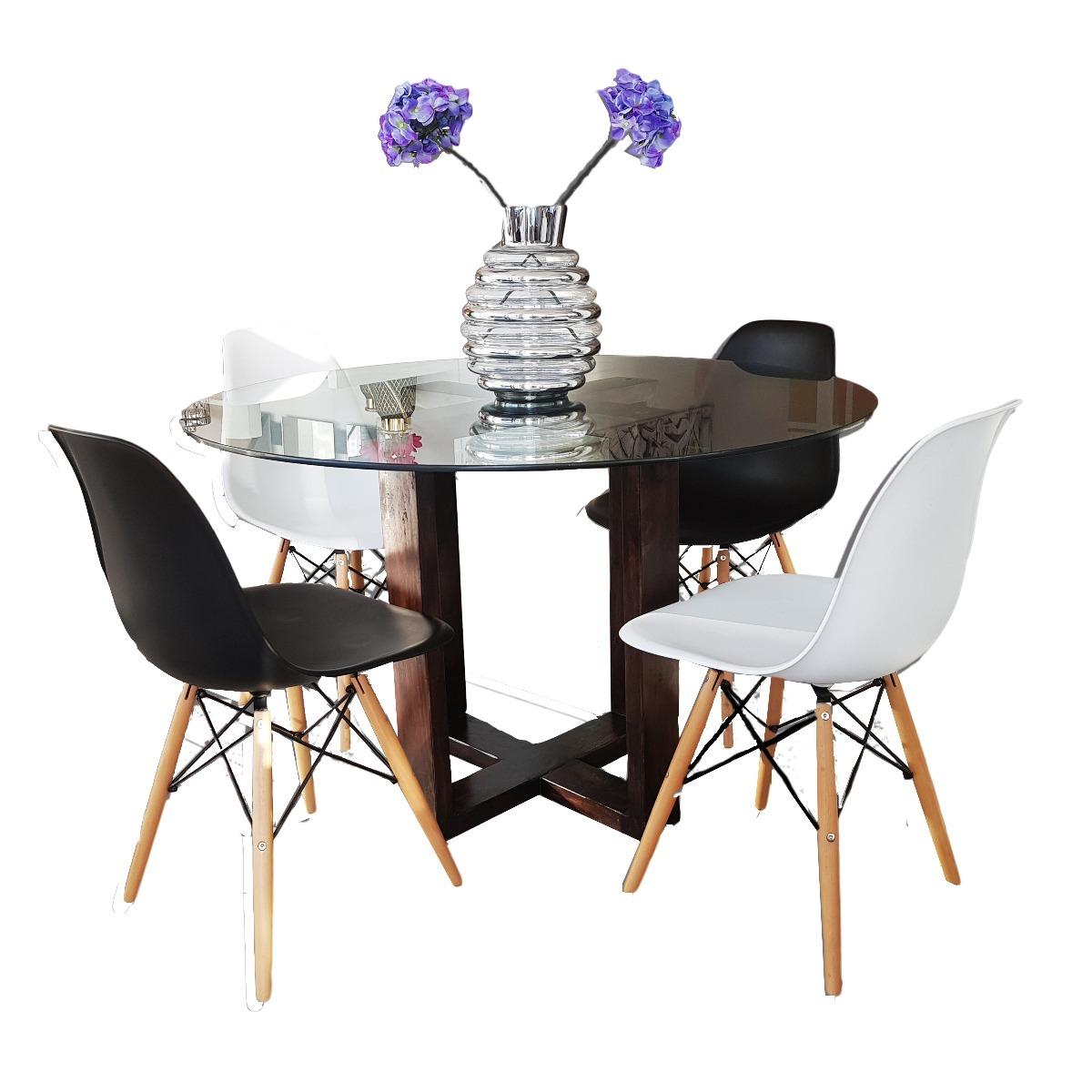 Comedor redondo para 4 sillas de cristal moderno 8 990 Comedor 4 sillas moderno