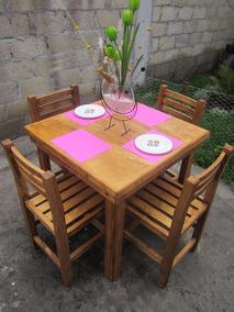 Comedor Restaurantero 4 Personas Mesa Sillas Acabado Vintage Canon Uso Rudo  Restaurante Bar Muebles Vanely