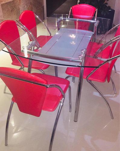 comedor rojo 6 sillas
