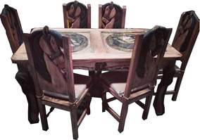 Comedor Rústico De Madera Para 6 Personas Diseño De Caballos