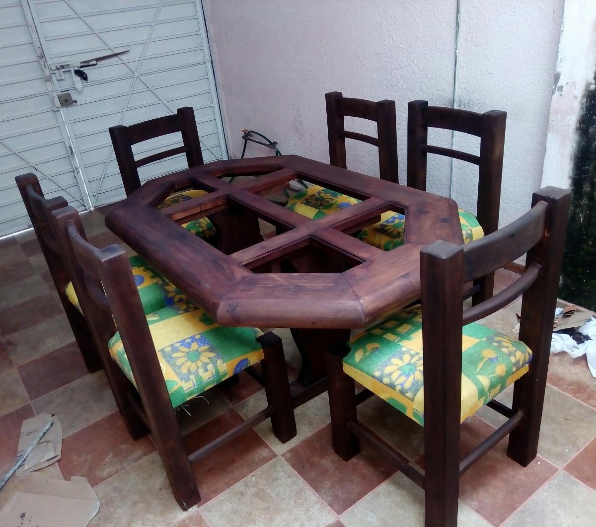 Comedor Rustico Resistente Madera, 6 Sillas Buen Estado - $ 4,000.00 ...