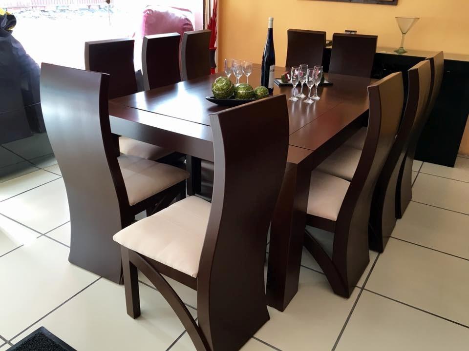 Comedor 10 sillas color nogal comedores moderno 28 600 - Muebles modernos para comedor ...