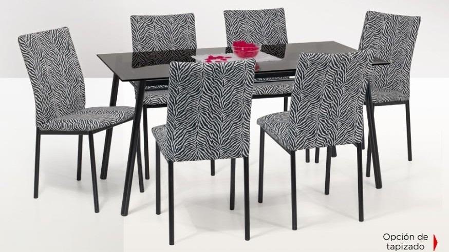 Juego de comedor vidrio mesa 1.50x0.80  6 sillas tapizadas ...