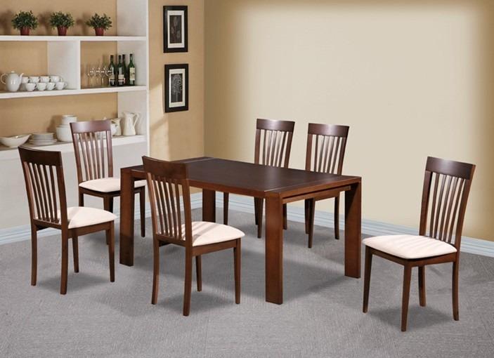 Juego de comedor con 6 sillas concept madera mesa for Comedores tapizados