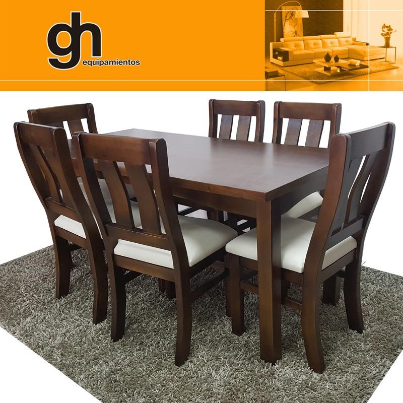 Juego de comedor o cocina con 6 sillas madera maciza gh for Juego de comedor de cocina