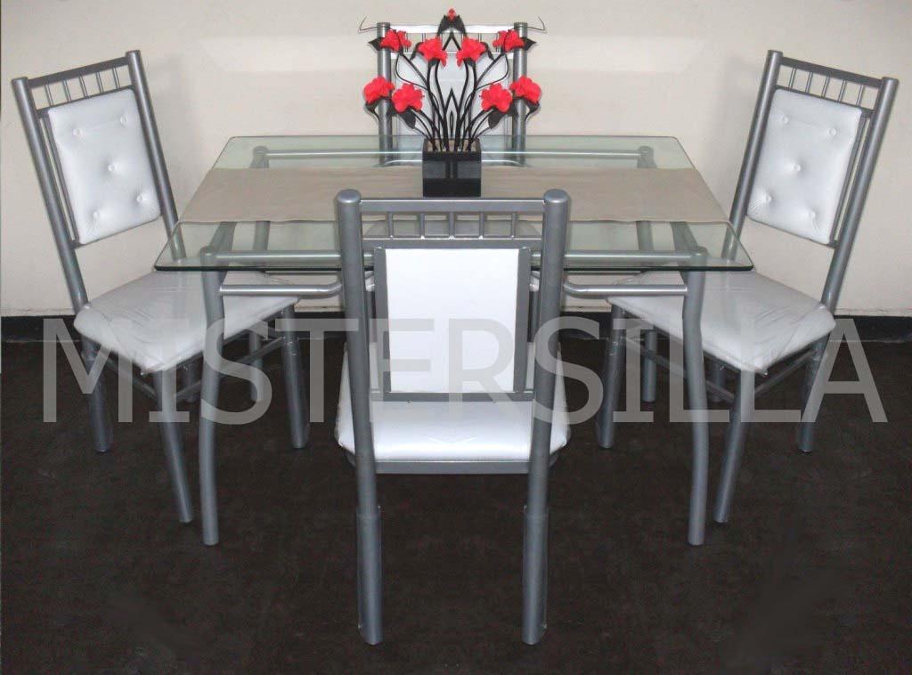 Juego comedor 4 sillas imperiales   mesa vidrio rectangular ...