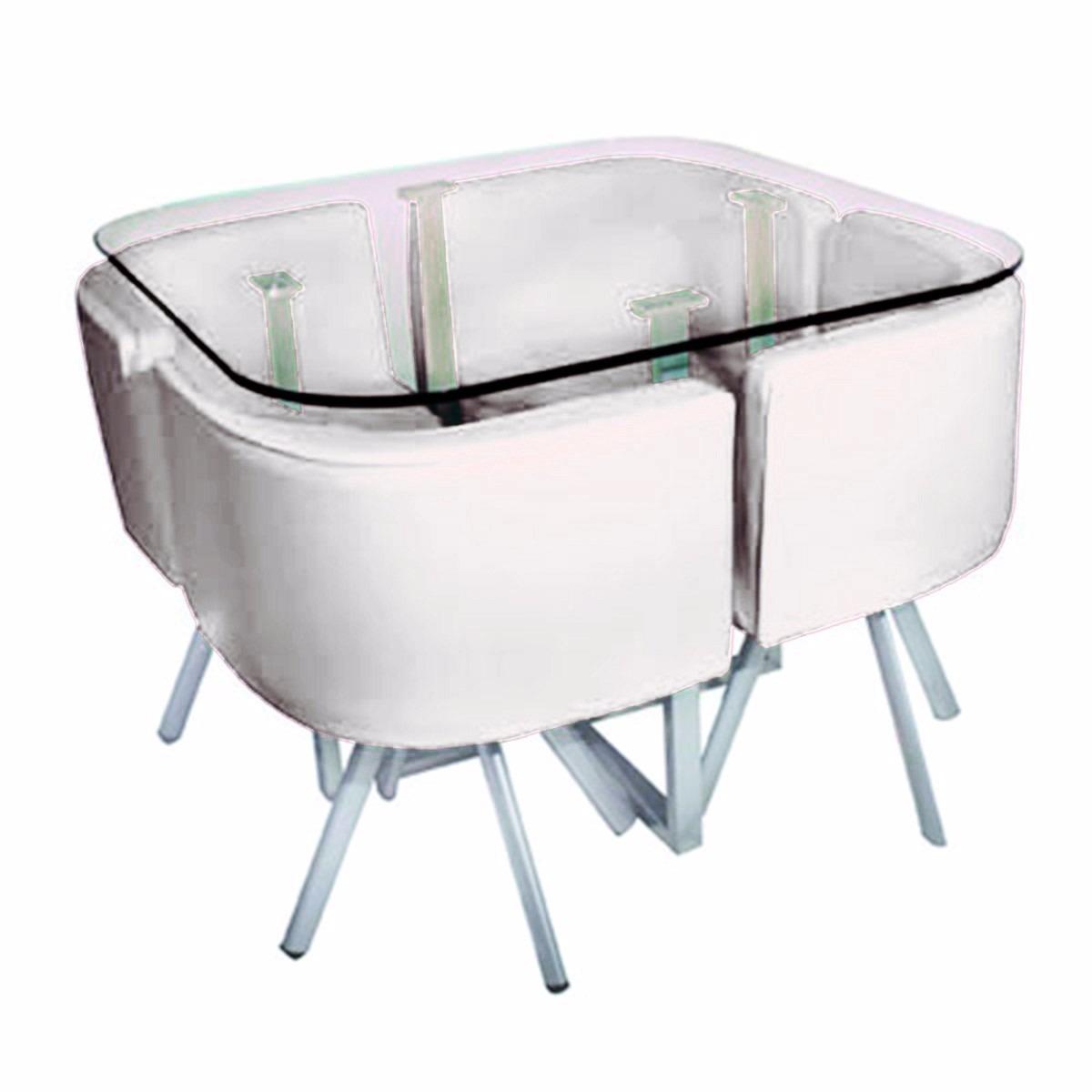 Juego de comedor mesa vidrio templado y 4 sillas for Juego de mesa y sillas para cocina comedor