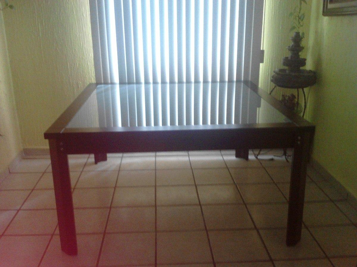 Comedor solo mesa madera y cubierta de cristal templado - Mesas de cristal y madera para comedor ...