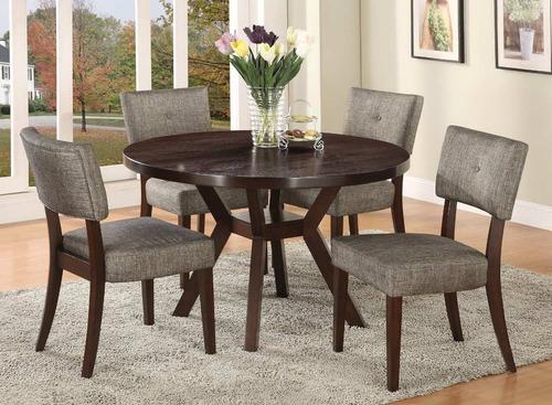 comedor sonora circular 4 sillas tapizada pino - madera viva