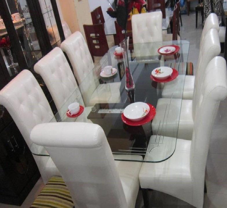 Comedor tapizado 8 sillas en 1800 acabado parafinico for Fabricantes sillas peru