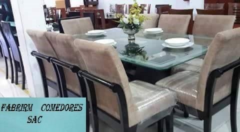 Comedor tapizado 8 sillas en 1800 acabado parafinico for Comedores tapizados