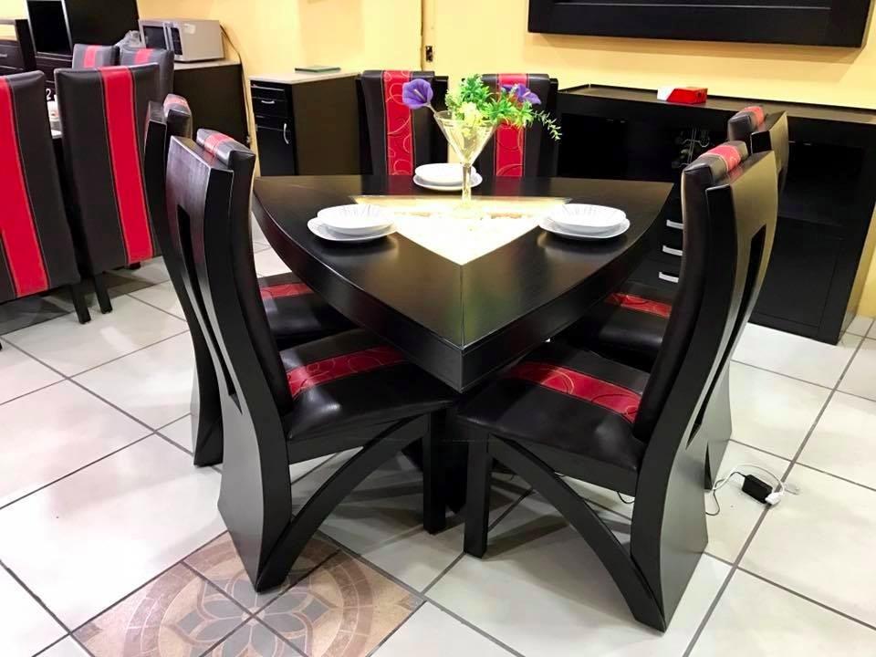 Comedor triangular 6 sillas moderno piedra onix 16 800 for Comedor 6 sillas moderno