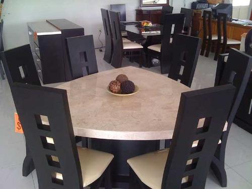 Comedor triangular marmol mts para seis sillas for Comedor marmol 4 sillas