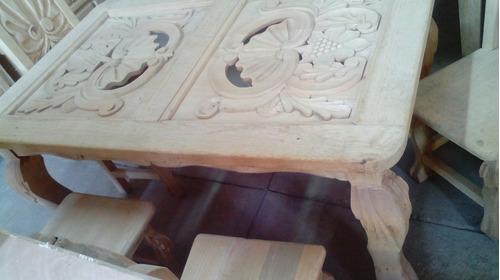 comedor vintage 6 personas tallado en madera acabado algusto