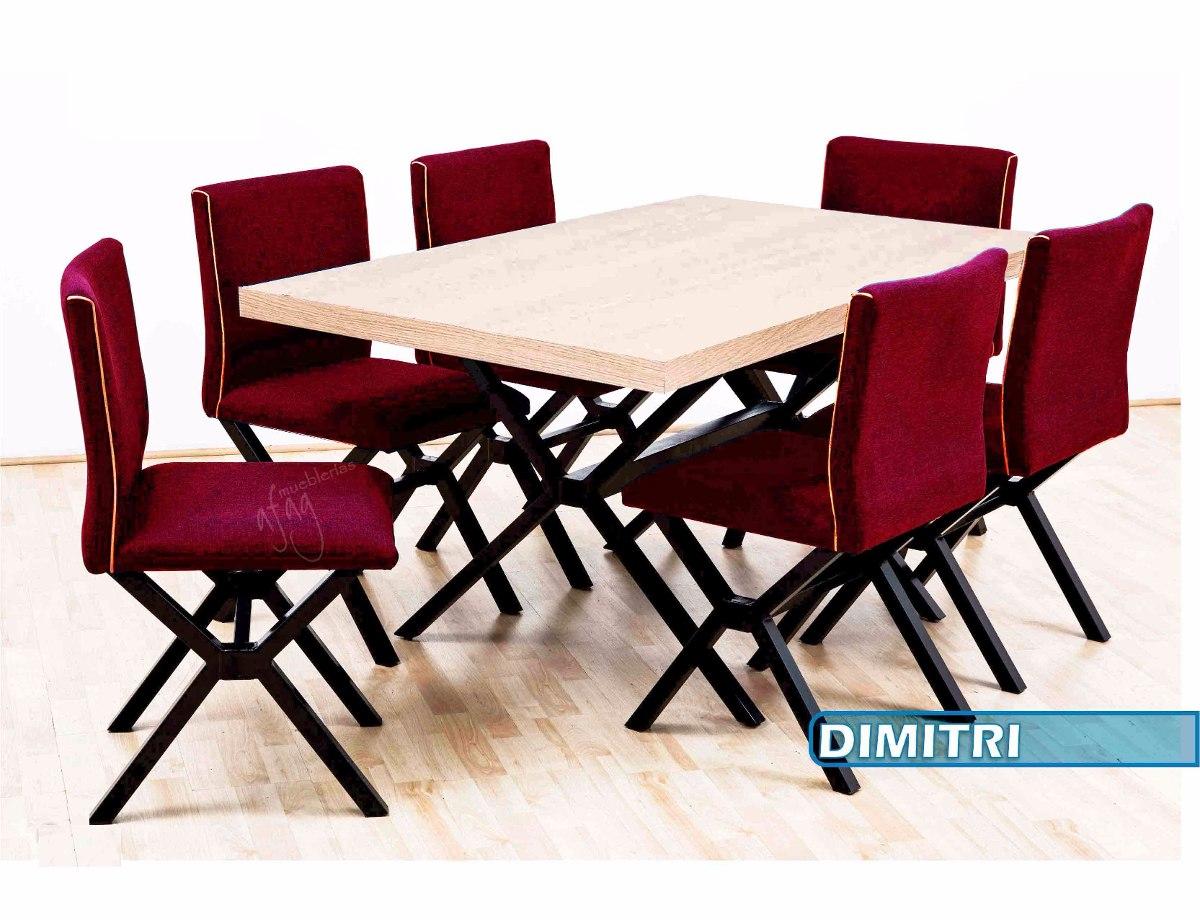 Comedor vintage mesa 6 sillas rojo beige pata negro for Comedor 6 sillas moderno