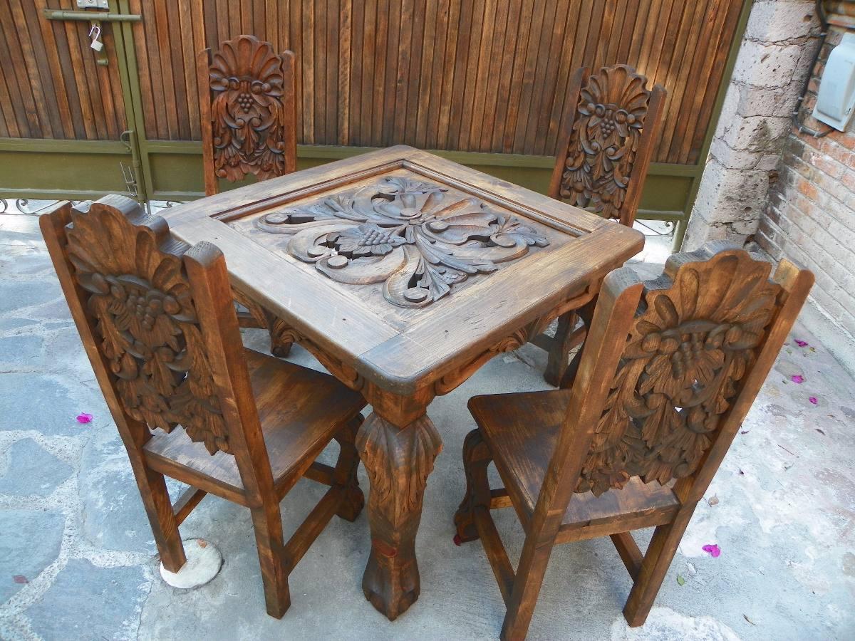 Comedor vintage tallado en madera acabado antiguo a la - Muebles antiguos de comedor ...
