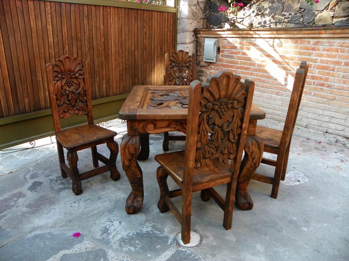 Comedor Vintage Tallado En Madera Acabado Antiguo A La Cera  # Muebles Tallados En Madera