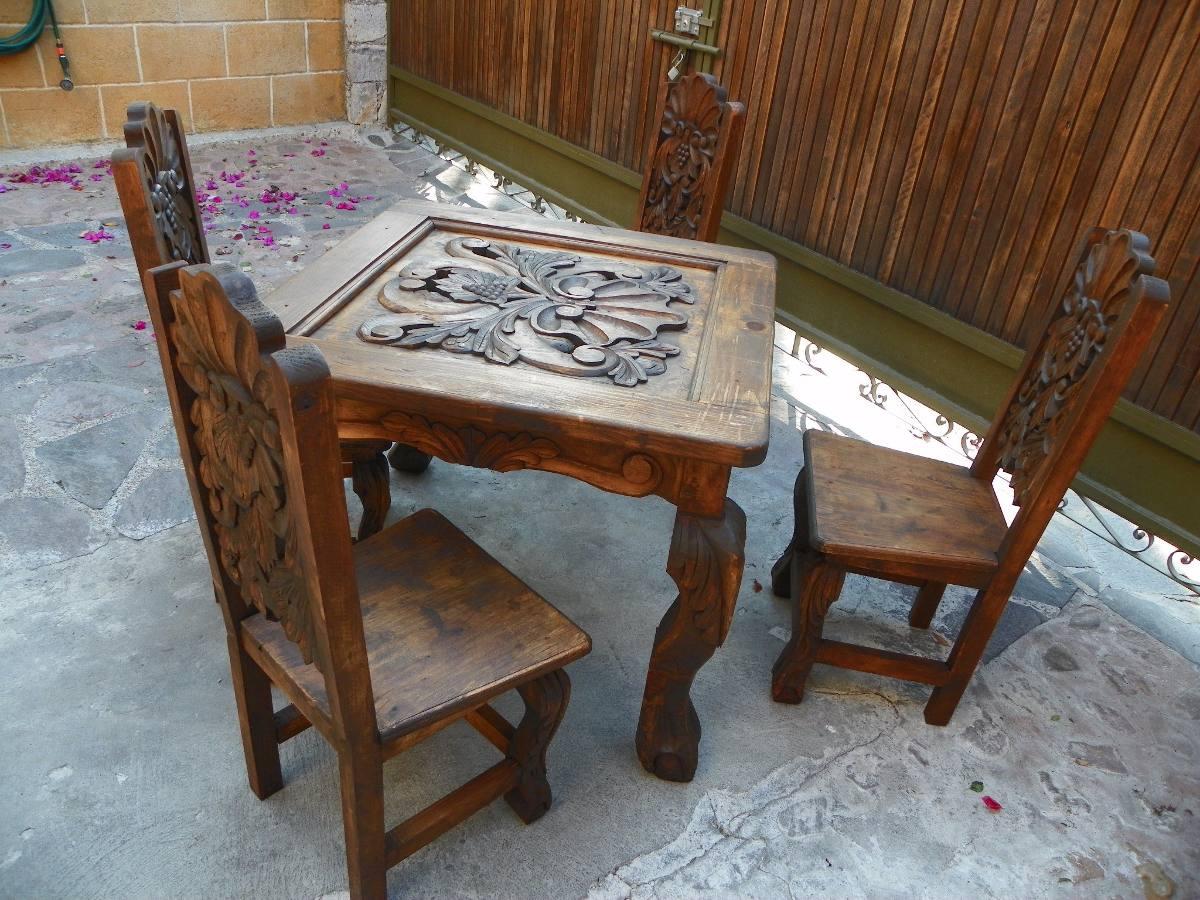 Muebles Antiguos Tallados En Madera : Comedor vintage tallado en madera acabado antiguo a la