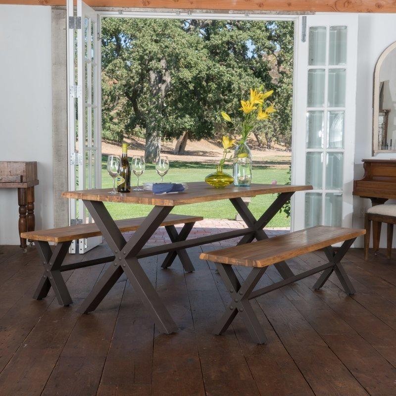 Comedor x industrial vintage mesa banca banco metal madera 11 en mercado libre - Bancas de madera para comedor ...