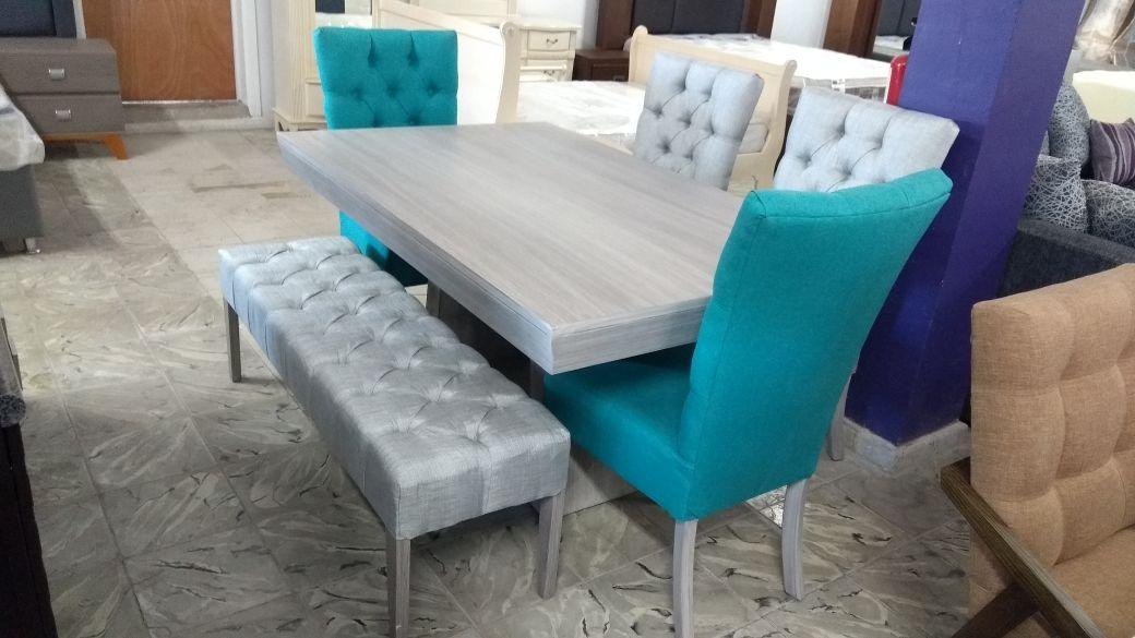 Comedores de 6 sillas minimalistas vintage con banca - Comedor con banca ...