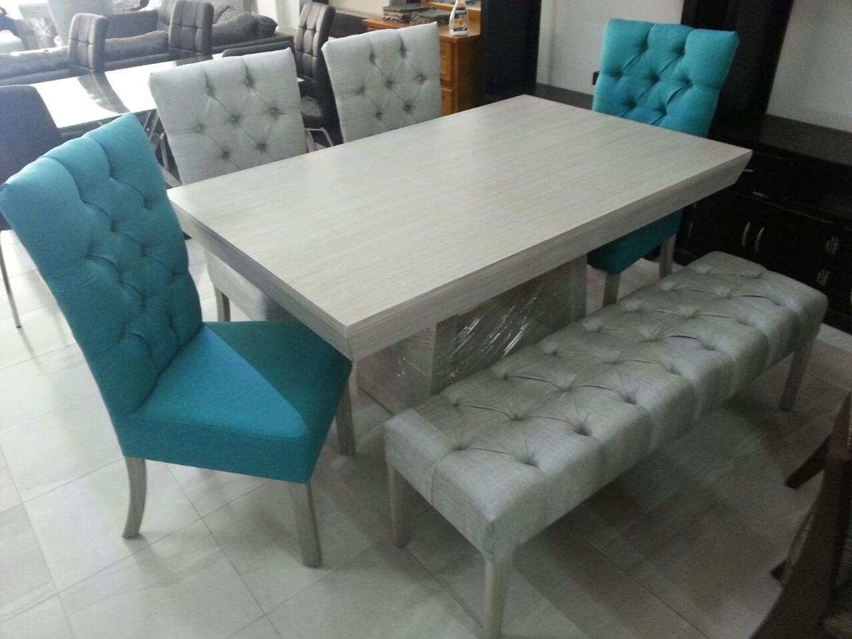 Comedores de 6 sillas minimalistas vintage con banca for Comedores modernos con banca