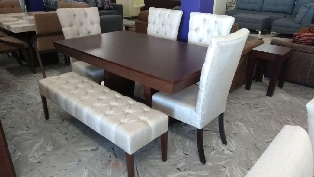 Comedores de 6 sillas minimalistas vintage con banca for Comedores 6 sillas elektra