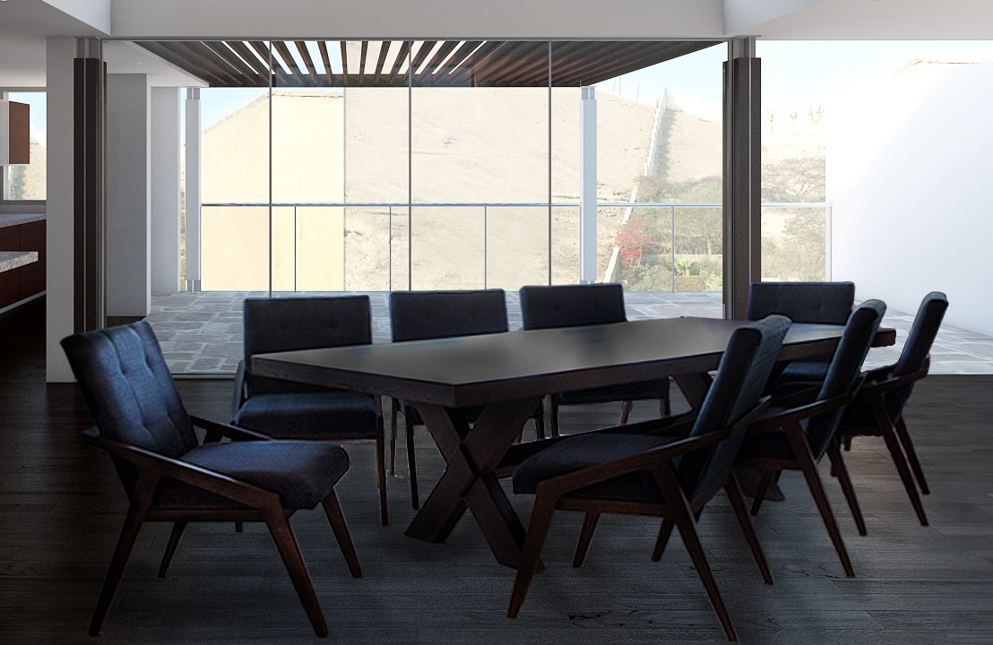 Comedores modernos de 8 6 sillas y banca vintage for Comedores ovalados modernos