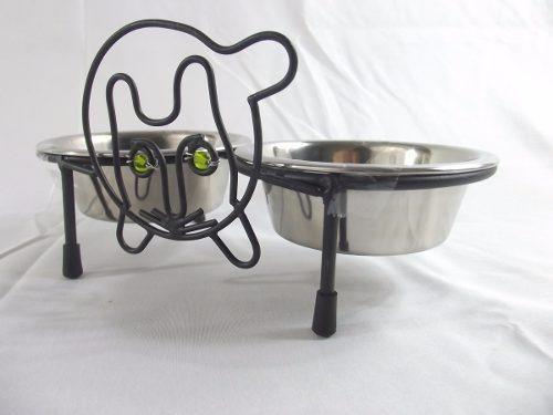 comedouro duplo (comida-água) p/ cães e gatos - pequeno -m3