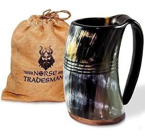 dise/ño de cuerno n/órdico Thor con cuerno vikingo curvado con soporte Taza de cerveza 10 onzas