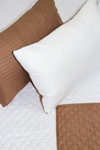 comforter café líneas beige microfibra king doble faz
