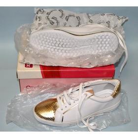 Comfortflex Tênis Nº 37 Branco E Dourado Novo