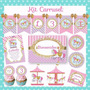 Kit Cumpleaños Carrusel Calesita Nena Invitaciones Candy Bar