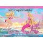 Kit Imprimible Barbie Sirena Tarjeta Cumpleano Invitacion #9