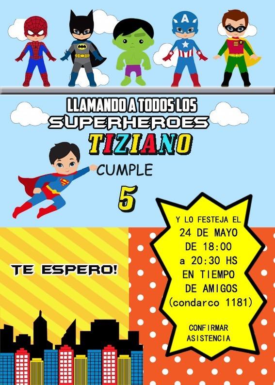 Comics Super Héroes Tarjeta Invitacion Digital Imprimible