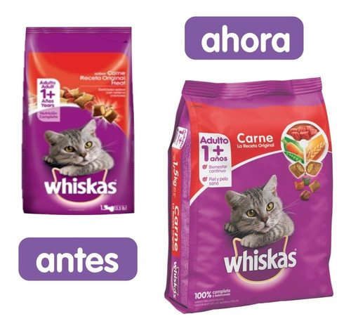 comida gatos whiskas carne 9k - kg a $11083
