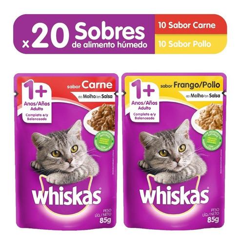 comida gatos whiskas sobres carne (10un) + pollo (10un)