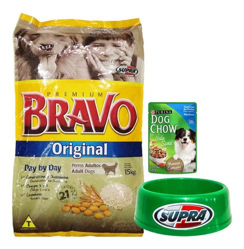 comida perro adulto bravo original 15 kg + regalo + envío