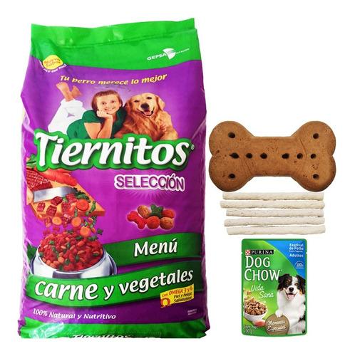 comida perro tiernitos carne veg 25 kg + envío + regalo