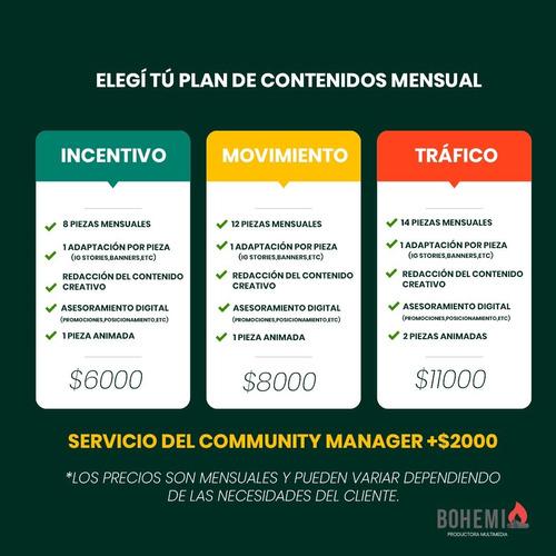 community manager/contenido para redes sociales /$6000