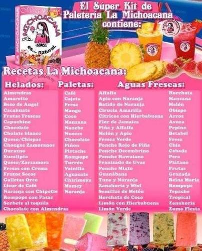 como hacer paletas,helados recetas  la michoacana pdf
