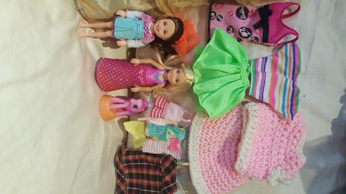 como nuevo ,muñeca barbie full ropa mas dos chelsea