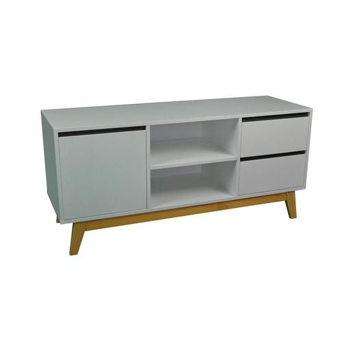 cómoda 1 puerta y 2 cajones blanco y madera 120x55x40 cm