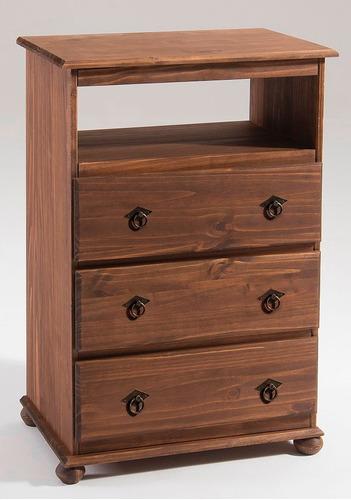 comoda 3 cajones madera maciza, cerámicas castro.