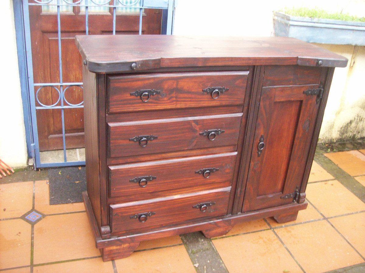 Comoda 4 cajones y puerta rustica madera maciza - Comodas de madera para el dormitorio ...