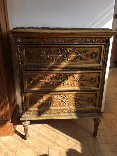 cómoda antigua en madera estilo luis xvi c/ mesada de mármol